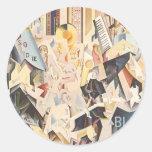 Vintage Music, Rhapsody in Blue Art Deco Jazz Round Stickers
