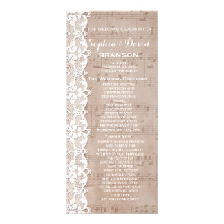 Vintage Music Sheet & Lace Wedding Program Custom