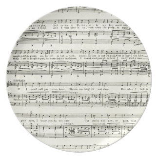 Vintage music sheet,musical notes party plates