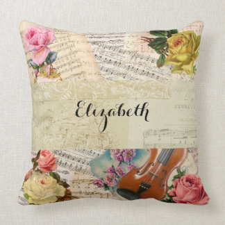 Vintage Music Sheets and Floral Arrangement Throw Pillow