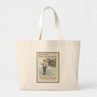 Vintage Music Song Sheet Poor Callaghan Chorus Large Tote Bag