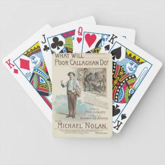 Vintage Music Song Sheet Poor Callaghan Chorus Poker Deck
