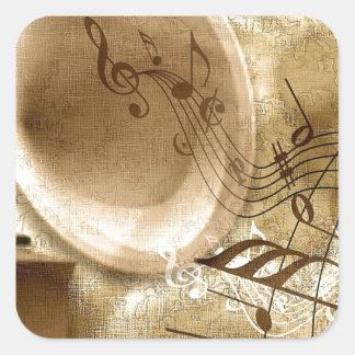 Vintage Music Square Sticker