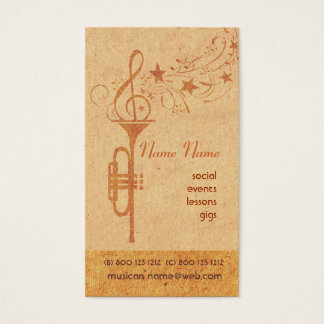 Vintage Music Trompet Horn School  Band Player Business Card