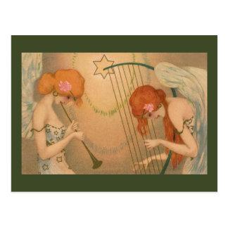 Vintage Music Victorian Angel Musicians Flute Harp Postcard