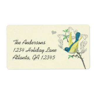Vintage Musical Bird Blue Green Yellow Label Felt Custom Shipping Label