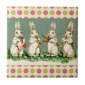 Vintage Musical Bunnies Tile