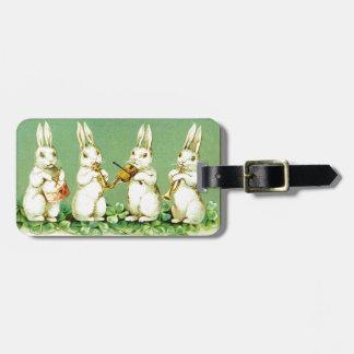 Vintage Musical Easter Bunnies Luggage Tag