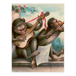 """Vintage Musical Monkeys"" Postcard"