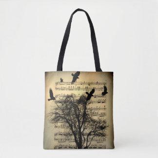 Vintage Musical Notes Art Tote Bag