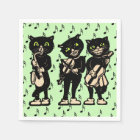 Vintage Musician Black Cats Music Notes Paper Napkin