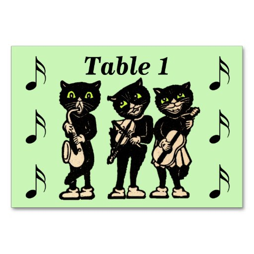Vintage Musician Black Cats Music Notes Table Card