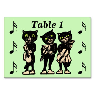 Vintage Musician Black Cats Music Notes Table Cards