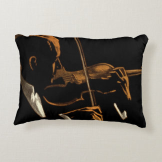 Vintage Musician, Violinist Playing Violin Music Decorative Pillow