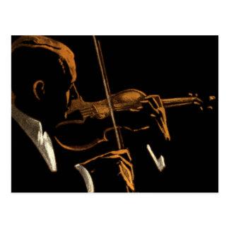 Vintage Musician, Violinist Playing Violin Music Postcard