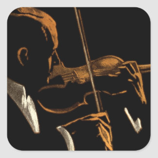 Vintage Musician, Violinist Playing Violin Music Square Sticker