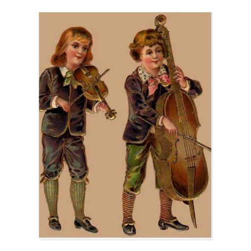 Vintage Musicians Playing Postcard