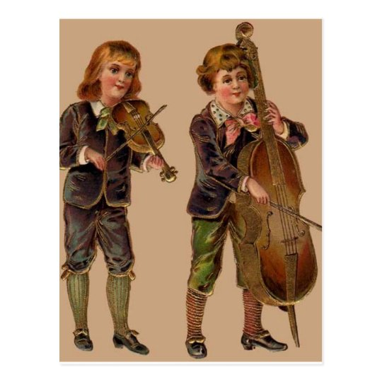 Vintage Musicians Playing Postcard