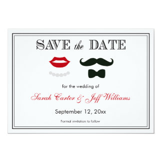 """Vintage Mustache and Lips Save the Date Cards 5"""" X 7"""" Invitation Card"""