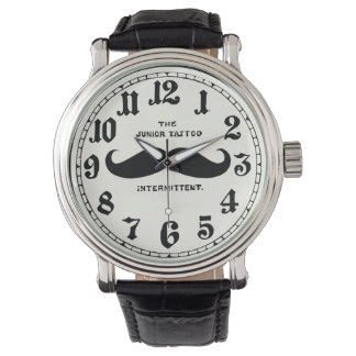 Vintage Mustache  Leather Strap Watch with Numbers