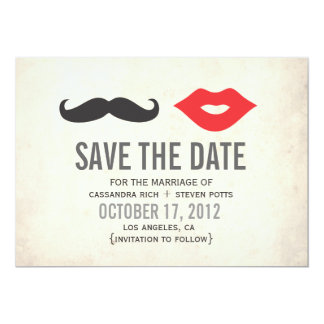 "Vintage Mustache & Lips Save The Date Card 5"" X 7"" Invitation Card"