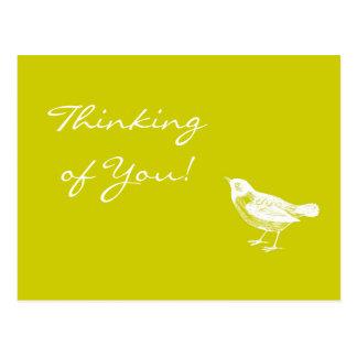 Vintage Mustard Yellow Bird Thinking of You Card