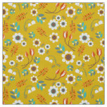 Vintage Mustard Yellow Floral Flowers Pattern Fabric