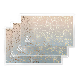 Vintage Muted 1920 Glam Gold Star Foil Sparkle Acrylic Tray