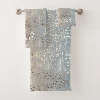 Vintage Muted 1920 Glam Gold Star Foil Sparkle Bath Towel Set