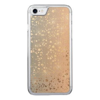 Vintage Muted 1920 Glam Gold Star Foil Sparkle Carved iPhone 7 Case