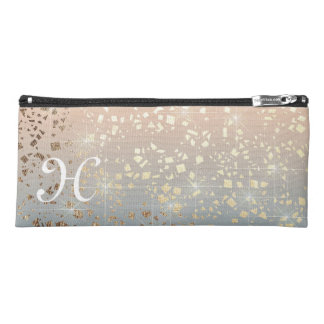 Vintage Muted 1920 Glam Gold Star Foil Sparkle Pencil Case