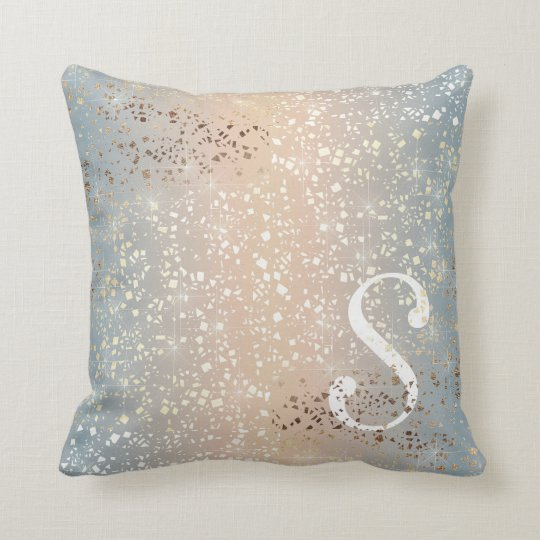 Vintage Muted 1920 Glam Gold Star Foil Sparkle Throw Pillow
