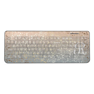 Vintage Muted 1920 Glam Gold Star Foil Sparkle Wireless Keyboard