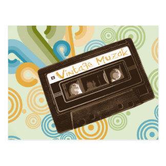 Vintage Muzak Retro Mix Tape Postcard