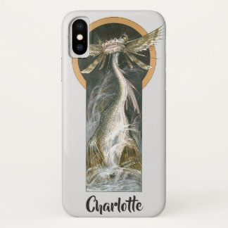 Vintage Mythology, a Winged Dragon in the Ocean iPhone X Case