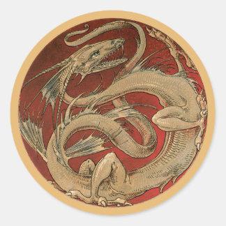 Vintage Mythology, Antique Golden Asian Dragon Round Sticker