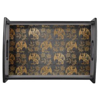 Vintage Mythology Fantasy Dragon Wallpaper Serving Tray