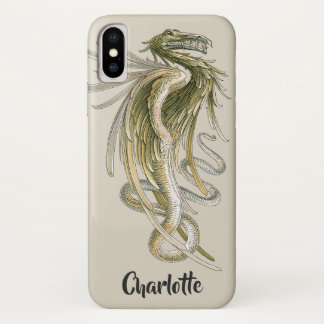 Vintage Mythology, Winged Dragon with a Snake Tail iPhone X Case
