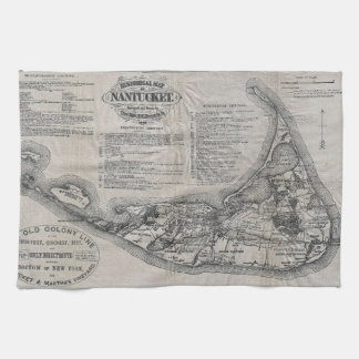 Vintage Nantucket Map Kitchen Towel
