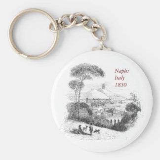 Vintage Naples and Vesuvius Landscape Keyring Key Chains