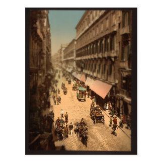 Vintage Naples Italy Street Scene Miniature Postcard