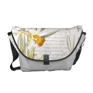 Vintage Narcissus Amarylis Flowers Messenger Bag