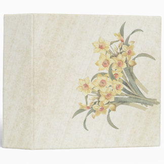 Vintage Narcissus Flowers Floral Avery Binder