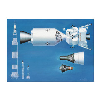 Vintage NASA Spacecraft and Rockets Canvas Print