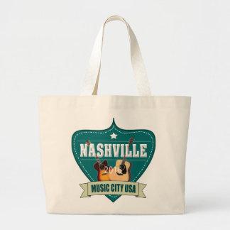 Vintage Nashville Music City Jumbo Tote Bag