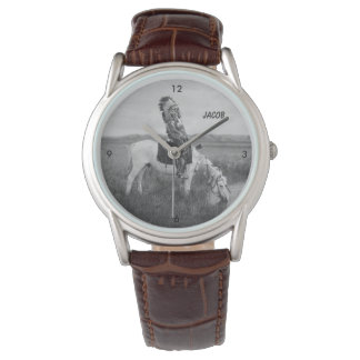 Vintage Native American Chieftain On Horseback Wrist Watch