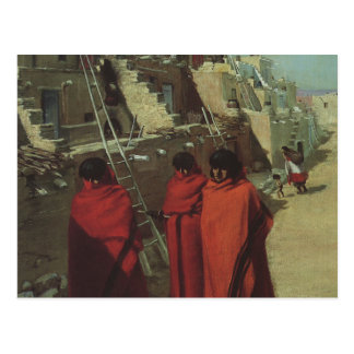 Vintage Native American, Hopi Pueblo by Louis Akin Postcard