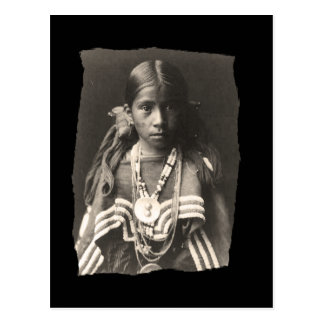 Vintage Native American Jicarilla Apache girl in F Postcard