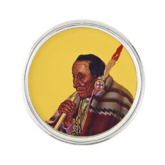 Vintage Native American Warrior Peace Pipe Lapel Pin