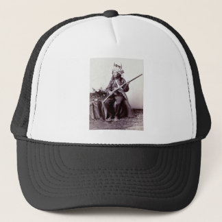 Vintage Native American Warrior Portrait Trucker Hat